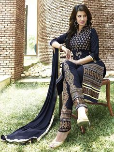 Navy Blue Long Straight Suit with Churidar