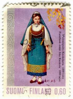 Stamps, covers and postcards of traditional/folk costumes: Stamps / Costumes - Finland / Suomija Norway Viking, Postage Stamp Art, Love Stamps, Mail Art, Stamp Collecting, Historical Clothing, Folklore, Poster, Costumes