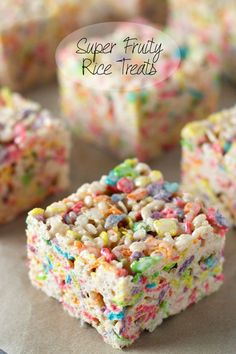 Super Fruity Rice Treats | Rice Krispies Treats packed full of fruity flavors via sweetasacookie.com