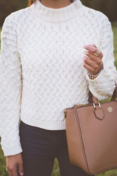cable knit sweater paired with jeans, fall sweater, fall fashion, fall style, tory burch robinson tote // a southern drawl