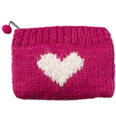 Sweater Knit heart coin purse.