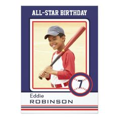 Your little All-Star will love his or her information and photos added to these baseball card style invitations!  Add a large photo to the front and a smaller head-shot to the back, then customize with the party details.   <br /><br />Once you receive your invites you can make them even more collectable by getting the star to sign the front; just like the pros! <br /><br /><b>Please Note: These are regular sized, paper invites</b>