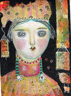 Mixed Media Painting Original Modern Folk Art by kittyjujube, $30.00