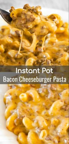 Instant Pot Bacon Cheeseburger Pasta is an easy ground beef dinner recipe packed.Instant Pot Bacon Cheeseburger Pasta is an easy ground beef dinner recipe packed with flavour. This cheesy pasta is super creamy and loaded with ground beef and Instant Pot Dinner Recipes, Beef Recipes For Dinner, Quick Crock Pot Recipes, Dinner Ideas With Beef, Good Easy Dinner Recipes, Crockpot Recipes Pasta, Stewing Beef Recipes, Quick And Easy Recipes, Easy Food Recipes