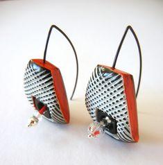 """Harlequin"" - polymer clay earrings by Sonya Girodon."