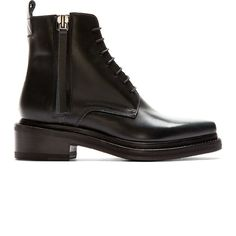 Acne Studios Black Leather Pointed Linden Ankle Boots