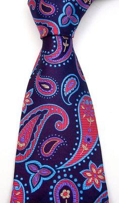 Blue & Red Silk Paisley Necktie - Mens Pure Silk Tie - Blueberry.