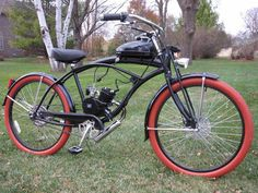 "Custom Motored Bicycles - 26""TIRES RED BRICK & WHITE"
