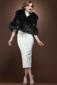Black Mink and Fox Fur Cape
