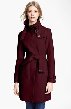 'Rushworth' Belted Wool Blend Coat   Burberry