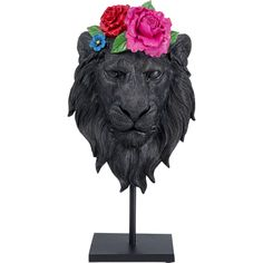 Kare Design, Lion Flower, Image Deco, Lion Mask, Black Lion, Gifts For An Artist, Decorative Objects, Decoration, Lion Sculpture