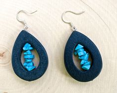 Far Out Retro Black Wooden Earrings with by KatiesBasement on Etsy, $18.00