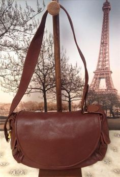 Auth-Bally-Brown-Leather-Hobo-Cross-Body-Bag-Purse-Handbag-Shoulderbag