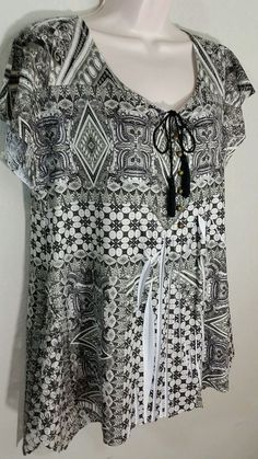 Style & Co Trapeze Sublimation Blouse Olive White Lace Flutter Sleeves Sz M NWOT #Styleco #Blouse