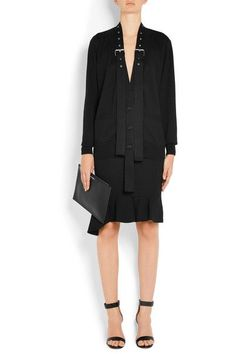 Givenchy - Buckle-embellished Wool And Silk-blend Cardigan - Black - large