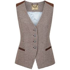 Daisy Tweed Waistcoat Women's Style (£250) ❤ liked on Polyvore featuring outerwear, vests, country casual, tweed waistcoat, daisy vest, brown waistcoat, brown vest and waistcoat vest