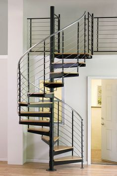 "The Iron shop 5'0"" Diameter Multi-line Stainless Steel Kit with Oak Treads and Aluminum Handrail from waybuild"