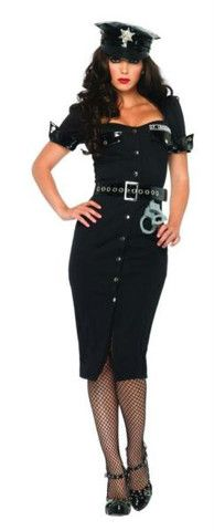 Lt. Lockdown Officer Costume – Bev Hills Lux Button front dress with vinyl trim, belt with oversized grommets, and toy handcuffs. Stockings and shoes not included. Sizes available: S 2 - XL 16