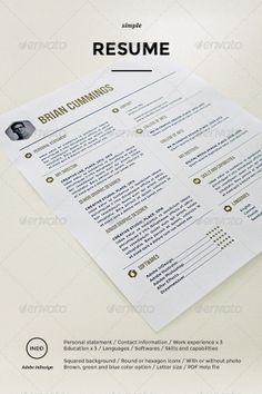 buy simple resume by aercubes on graphicriver minimalistic clean resume template perfect for creative professionals - Templates For A Resume