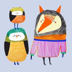 Squad goals by illustrator Ashley Percival. illustration - art - design - childrens illustrator - illustration - designer - artist - animal - nature - unique - quirky - fox - owl - penguin