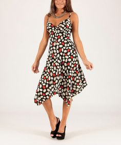 This White & Red Pebble Surplice Dress is perfect! #zulilyfinds