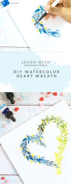 Hate the pinks that come with Valentine's Day? Lean how to create a DIY watercolor heart wreath in colors that are not conventional. - Inkstruck Studio