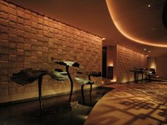 """Lotus Leafage"" - Chi, The Spa - Shangri-la Hotel, Guangzhou Shangri La Hotel, Four Seasons Hotel, Guangzhou, Wall Lights, Spa, Health Club, Interior Design, Architecture, Shadows"
