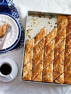 Australian Gourmet Traveller classic dish recipe for baklava. Baklava has come a very long way - in both historical and geographical terms. Many ethnic groups lay claim to this moreish pastry, and, truth be told, many have played a part in its evolution. Just Desserts, Delicious Desserts, Dessert Recipes, Yummy Food, Turkish Recipes, Greek Recipes, Baklava Recipe, Macedonian Food, Food Dishes