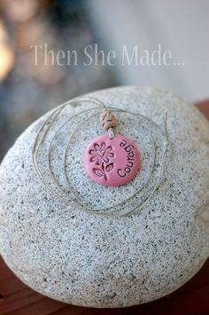 Pink Courage Pendant Necklace by Thenshemade on Etsy, $9.00