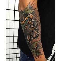 Tattoo by Tim Tavaria neotraditional realism neotraditionalrealism TimTavaria cat puma