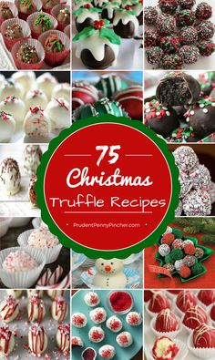 Truffles are the perfect Christmas dessert to bring to a holiday party because they are easy to make, look fancy and feed a crowd. Also, these truffles will make great gifts for friends and neighbors! Here is a round up of the best Christmas truffle recip Christmas Truffles, Christmas Deserts, Christmas Goodies, Christmas Fun, Christmas Parties, Christmas Food Gifts, Winter Parties, Christmas Cookie Exchange, Holiday Baking Ideas Christmas