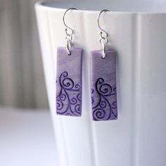 Purple Polymer Clay Earrings with White Stamped Swirls, Handmade Jewelry, Wearable Art: