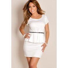 6ccc82532d0 white belted dress - skinny belt worn high over slight peplum
