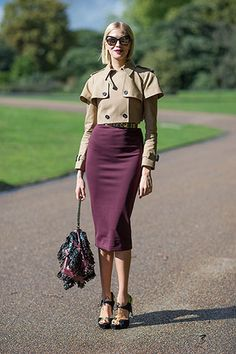 Trench Warfare...Trench Warfare Elena Perminova dresses up the laidback trench by keeping it cropped with a fitted pencil skirt.