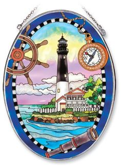 Amia Oval Suncatcher with Pensacola Lighthouse Design, Hand Painted Glass, 6-1/2-Inch by 9-Inch by Amia. $24.00. Comes boxed, makes for a great gift. Includes chain. Handpainted glass. Amia glass is a top selling line of handpainted glass decor. Known for tying in rich colors and excellent designs, Amia has a full line of handpainted glass pieces to satisfy your decor needs. Items in the line range from suncatchers, window decor panels, vases, votives and much more.