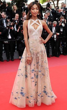 2017 Cannes Film Festival — Jourdan Dunn in 'Elie Saab' | Jourdan (Sherise) Dunn (b. 3 Aug 1990) • Brit. model/actress. She was discovered in Hammersmith Primark in 2006 & signed to Storm Model Management in London shortly thereafter. She began appearing on internat'l runways in early 2007. In Feb 2008, she was the 1st black model to walk a 'Prada' runway in over a decade.
