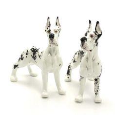 SALT & PEPPER DOG STATUE GREAT DANE CERAMIC SHAKERS DOG