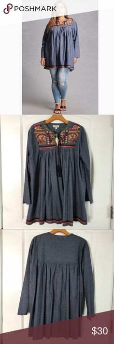 Boho Gypsy Chambray Peasant Top Amazing denim Chambray Peasant Top. Colorful embroidered bid detail. Tassel tie key hole neck line. Long sleeves. Brand new never worn.  Stitched boarder detail on the bottom. Amazing Top. Tops Tunics