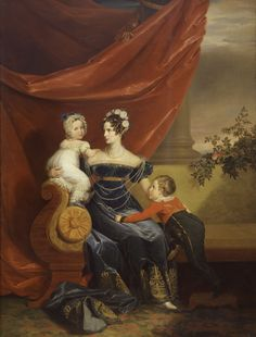 1820s  Portrait of Russian Empress Alexandra Feodorovna (née Charlotte of Prussia) with her two eldest children Alexander and Maria by George Dawe. fr.academic.ru
