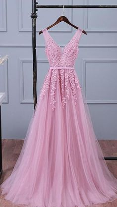 Appliqued Tulle Prom Dress,Lace Porm Dress,Cheap Prom Dress,Long Party Dress,Long Prom Dresses,Sexy V Neck Prom Dresses, Woman's Evening Dresses, Elegant Formal Dresses for Weddings, Pink Long Bridesmaid Dresses