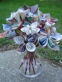 Upcycled Cinderella Paper Flower Bouquet Plus 4 by TreeTownPaper, $55.00