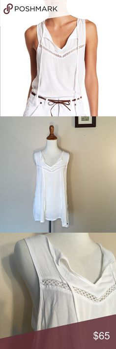 NWT One Teaspoon White Alfie Tank Top M New with tags Alfie tank by One x One Teaspoon size Medium. White with a tie front V-neck. Has some cut out details. Loose and flowy! Great boho festival tank One Teaspoon Tops Tank Tops