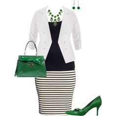 """plus size outfit"" by penny-martin on Polyvore... I would never wear stripes like that - your bum would look huge! Maybe a black and white pattern instead..."