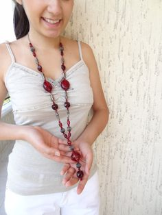 Burgundy Necklace OOAK Feminine Necklace by sevinchjewelry on Etsy, $58.00