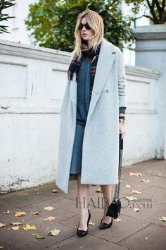 Women's Grey Wool Coats Winter Long Cashmere Imitation