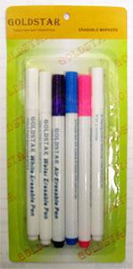 GOLDSTAR ERASABLE MARKERS - $6.99.  6 pack of pens. With Goldstar Erasable Markers 6 pack you get air soluble pink, purple and white pens, and you get water soluble blue and white pens, PLUS an eraser pens to instantly erase your silly mistakes right on the spot! Plus this 6 pack costs the same as just 2 Dritz Disappearing Ink Pens!