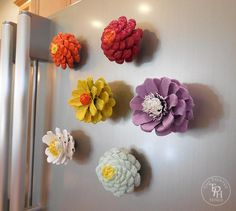 Pine Cone Flower Refrigerator Magnets tutorial! Easy to make and they look adorable on the fridge!
