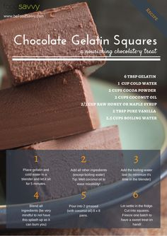 Chocolate Gelatin Squares Recipe Food Savvy - replace cocoa with carob for AIP Paleo Dessert, Healthy Sweets, Gluten Free Desserts, Delicious Desserts, Paleo Food, Fitness Snacks, Whole Food Recipes, Cooking Recipes, Treats