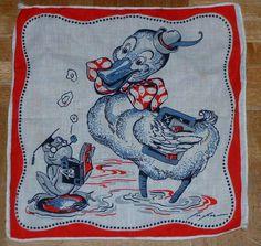 Vintage 1940s/1950s Tom Lamb duck & frog children's handkerchief! hankie hanky