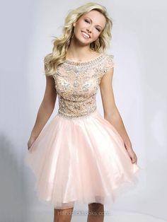 Scoop Neck Beading Cap Straps Short/Mini Pink Tulle Prom Dresses -CA$178.69